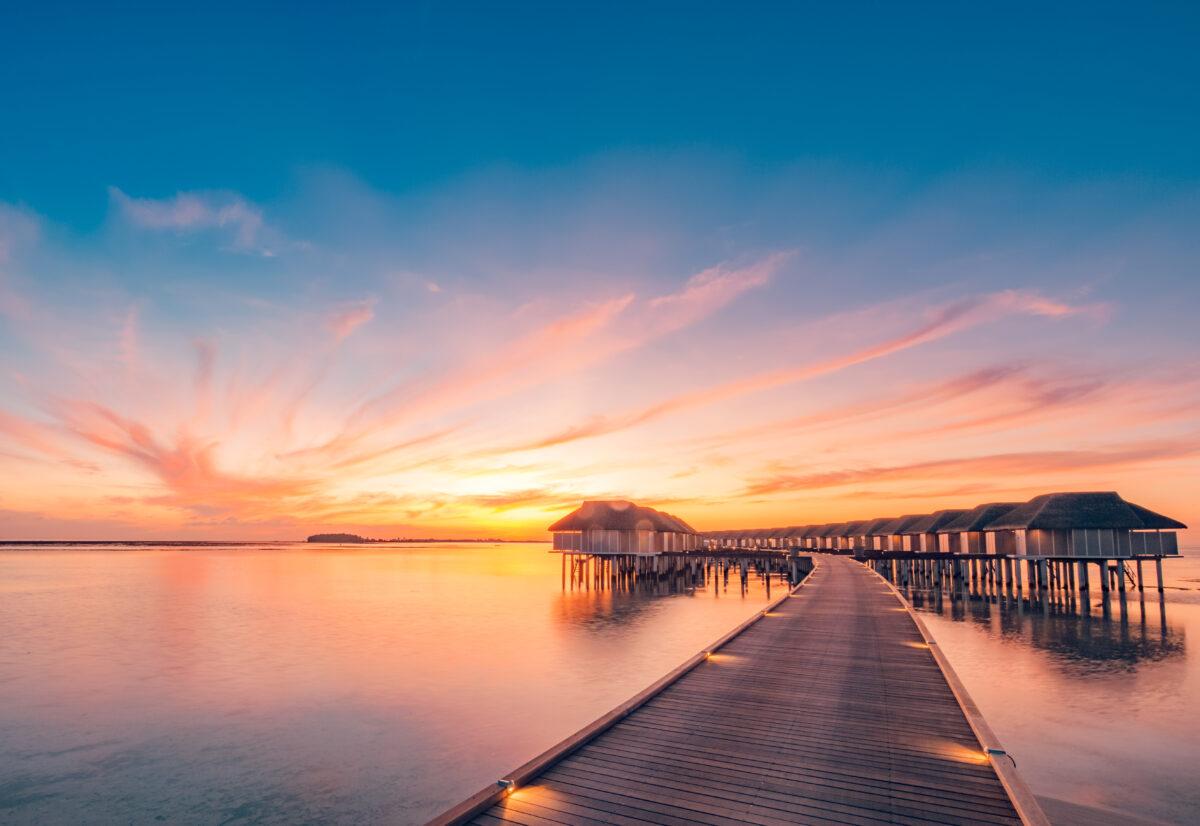 sunset at maldives